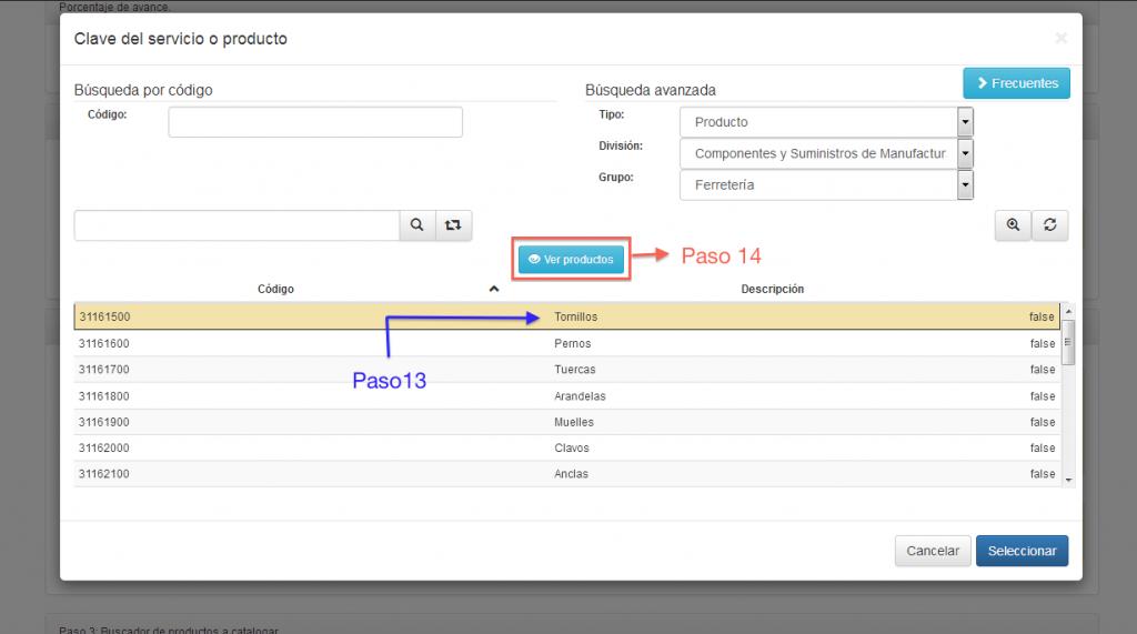 Botón ver productos del catálogo de productos y servicios SAT