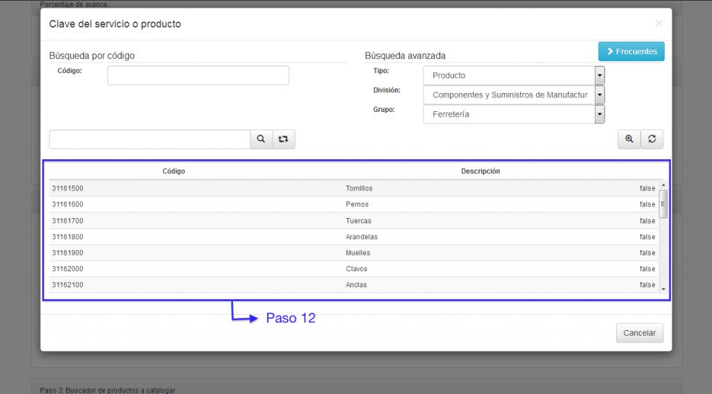 Selección de clases del catálogo de productos y servicios SAT