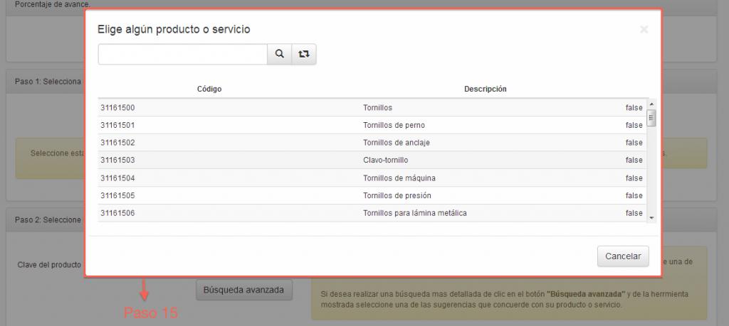 Productos o servicios del catálogo de productos y servicios SAT