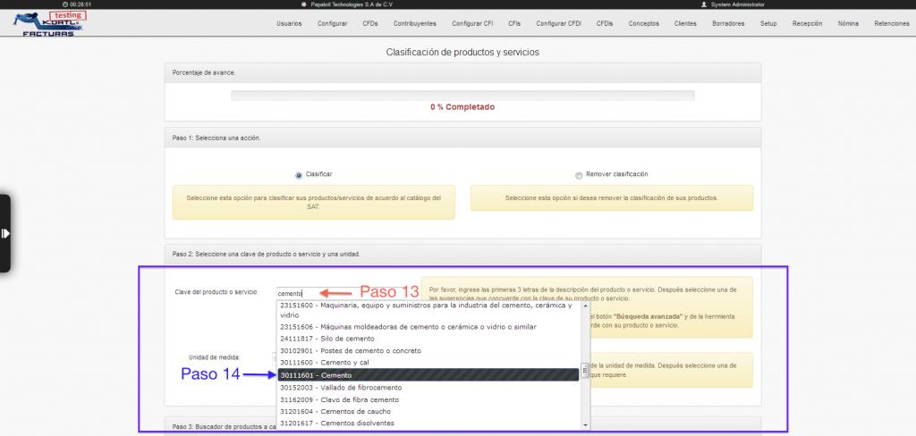 seleccionando clave en herramienta de clasificación masiva de claves de productos y servicios SAT