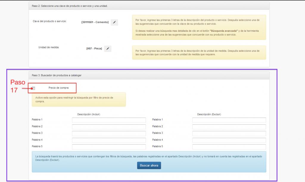filtros de búsqueda en herramienta de clasificación masiva de claves de productos y servicios SAT