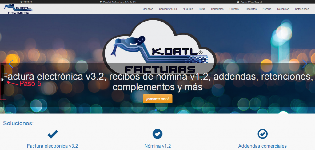 menu lateral izquierdo Koatl Facturas