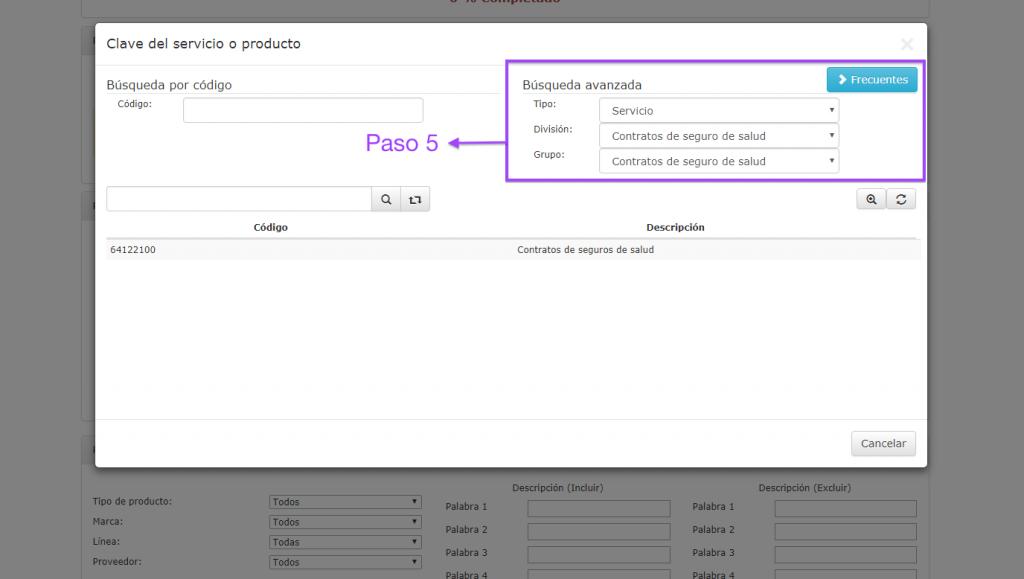 filtros para búsqueda avanzada del catálogo de productos y servicios SAT