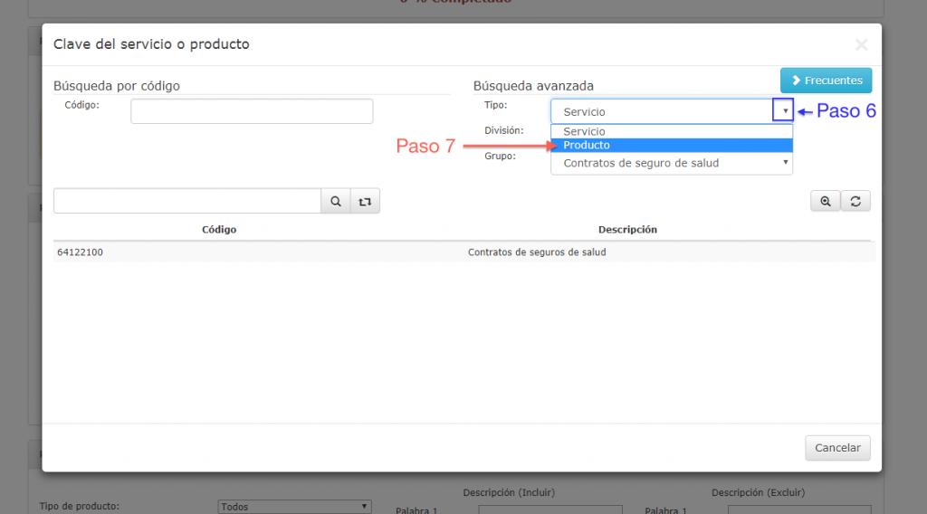 selección de producto o servicios en búsqueda del catálogo de productos y servicios SAT