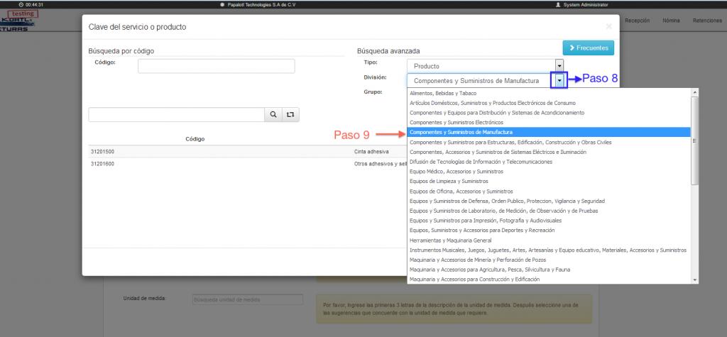 Selección de división del catálogo de productos y servicios SAT