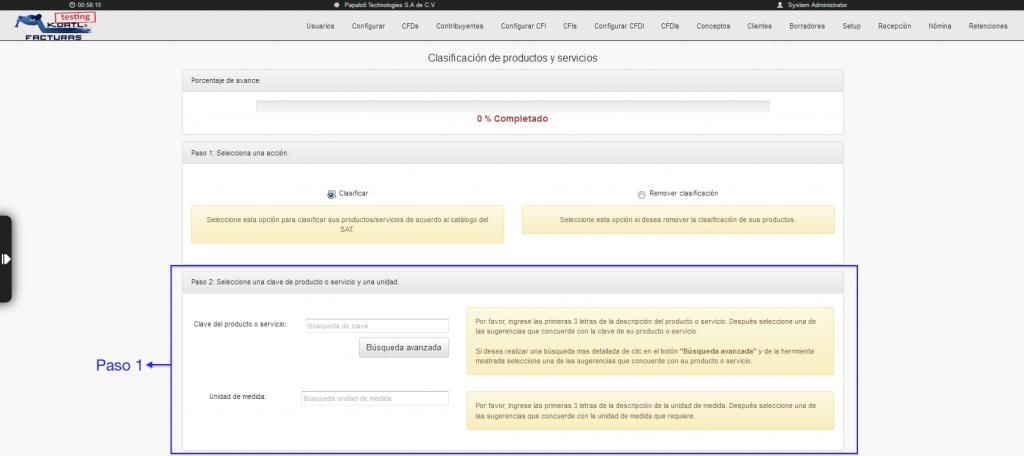 sección de búsqueda avanzada del catálogo de productos y servicios SAT