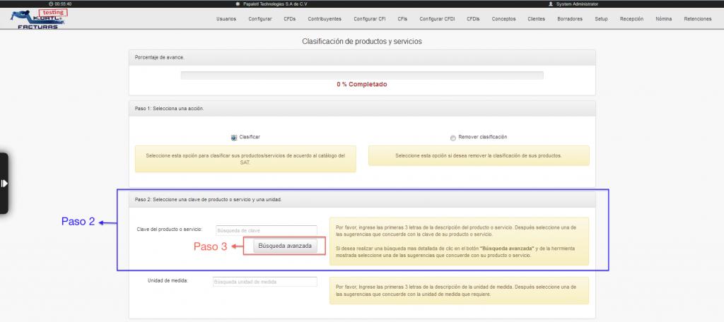 Botón de búsqueda avanzada del catálogo de productos y servicios SAT