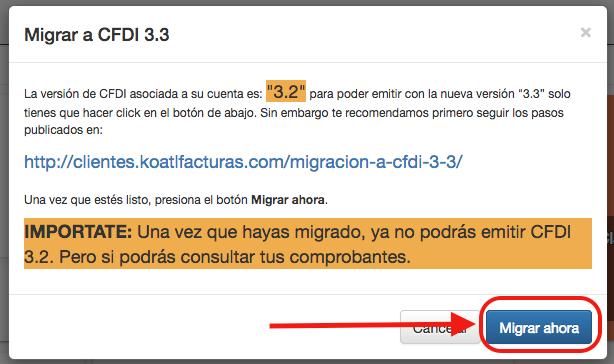 Confirmar migración a CFDI 3.3