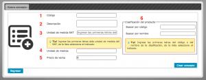 Koatl Facturas Datos para alta de concepto