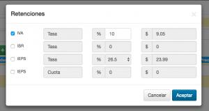 Koatl Facturas vista del listado de retención de impuestos
