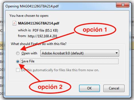 Abrir o guardar descarga de PDF de CFDI 3.3