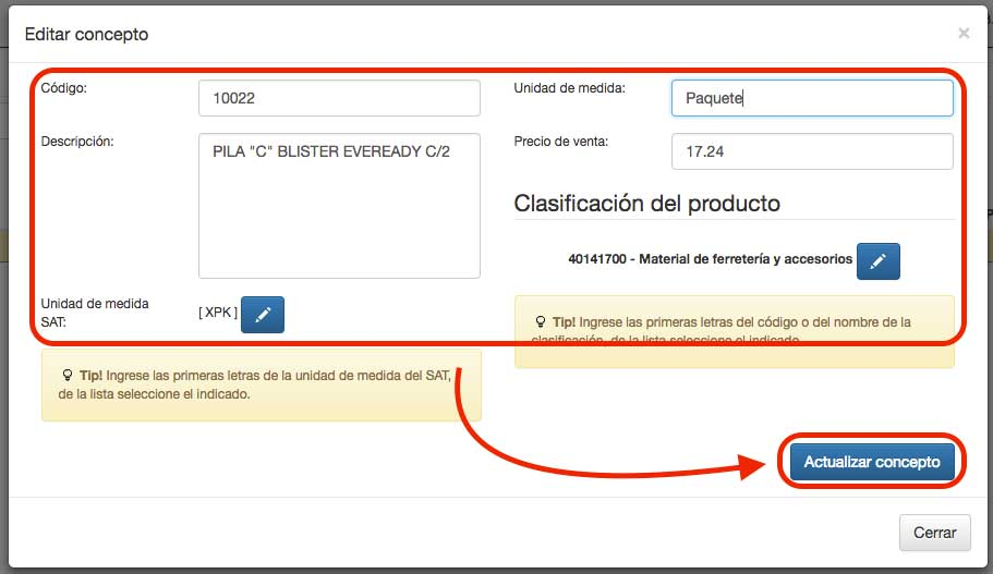 actualización de datos de un producto o servicio
