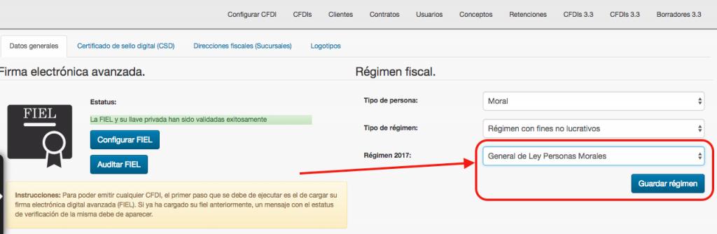 Configurar régimen fiscal para migración a CFDI 3.3