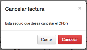 Ventana emergente cancelar CFDI 3.3