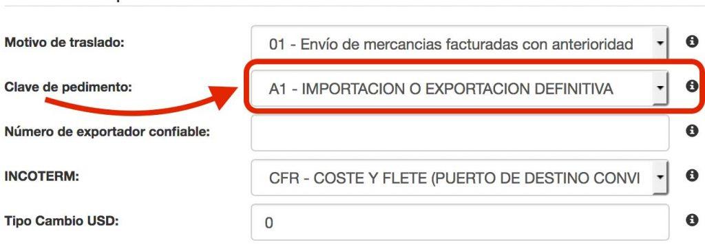 clave de pedimento A1 en factura comercial de exportacion