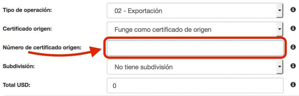número de certificado de origen en complemento de comercio exterior
