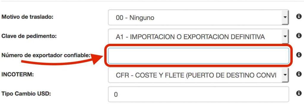 número de exportador confiable
