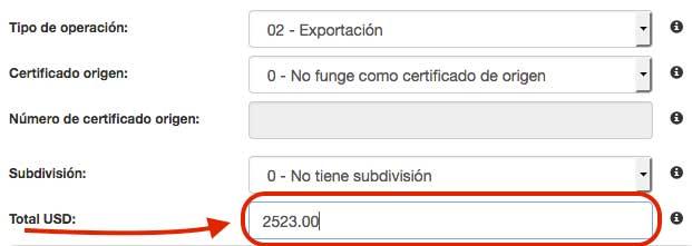 total en USD del CFDI