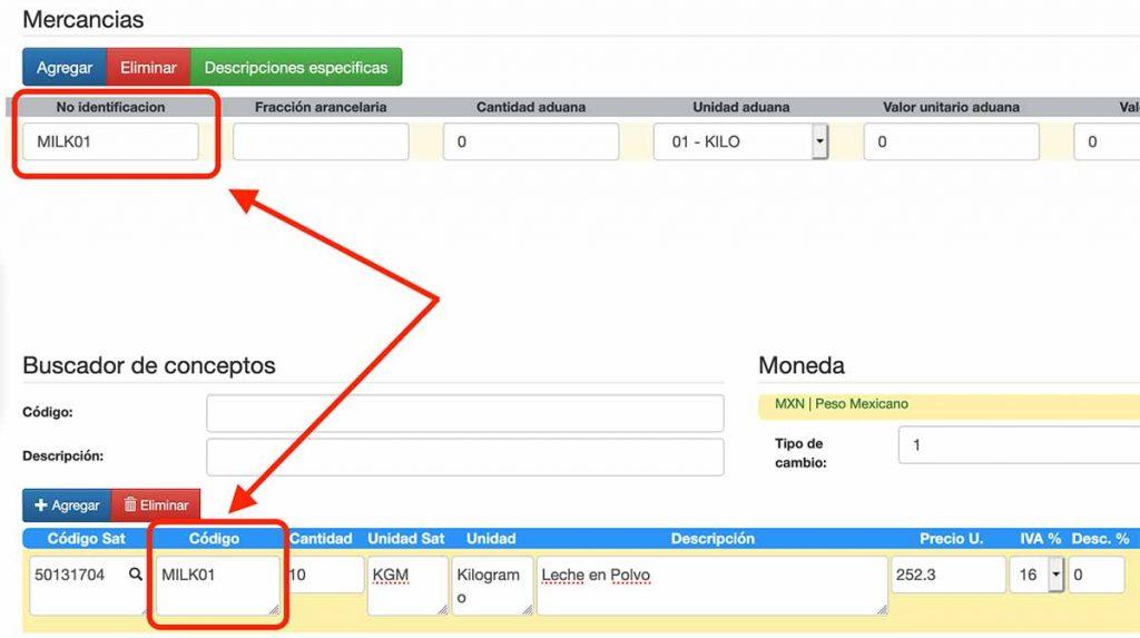 no identificación y código en factura de exportación
