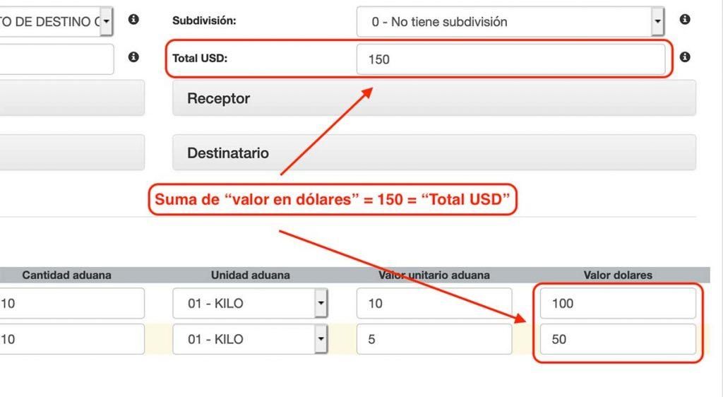 total usd igual a suma de valor en dolares en mercancias comercio exterior